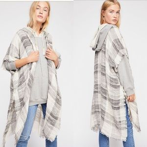 Free People River Bend Woven Plaid Kimono in Ivory